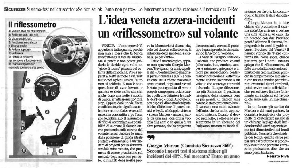 Corriere Veneto - L'idea Veneta azzera-incidenti